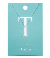 Orelia Necklace Initial T silver plated (21161)
