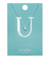 Orelia Necklace Initial U silver plated (21163)