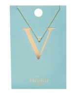 Orelia Necklace Initial V pale gold plated (21164)