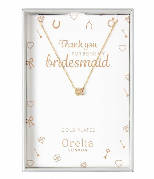 Orelia  Thankyou Bridesmaid Horseshoe and Stone Giftbox pale gold plated (22887)