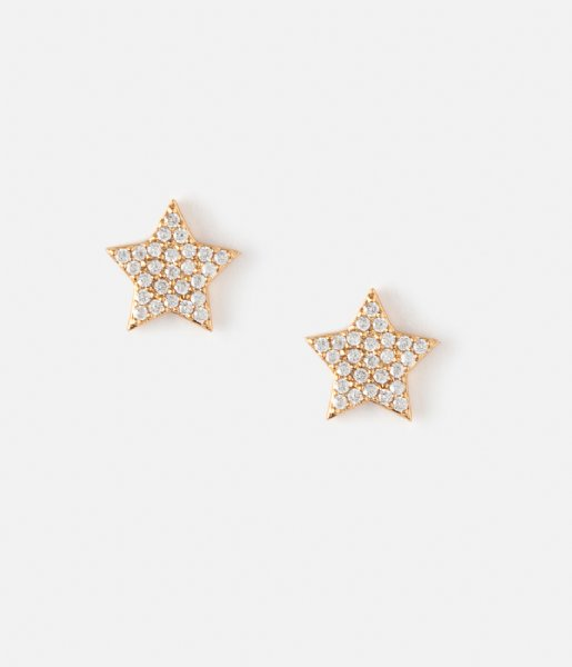 Orelia  Pave Star Stud Earrings pale gold plated (23289)