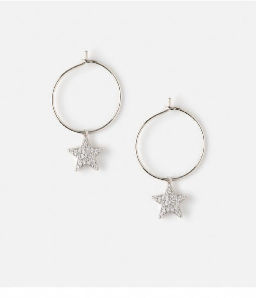 Orelia  Pave Star Drop Hoops silver plated (ORE23308)