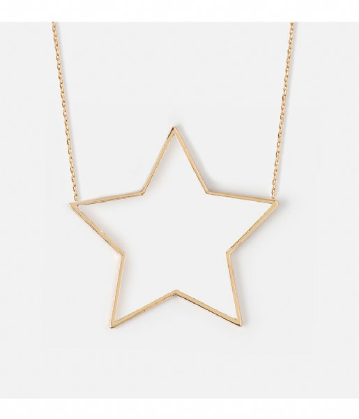 Orelia  Large Open Star Necklace pale gold plated (23350)