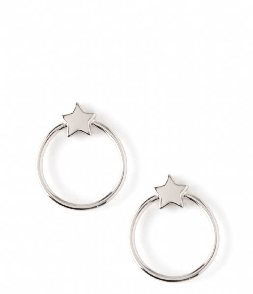 Orelia  Front Facing Metal Star Hoops silver colored (ORE24003)