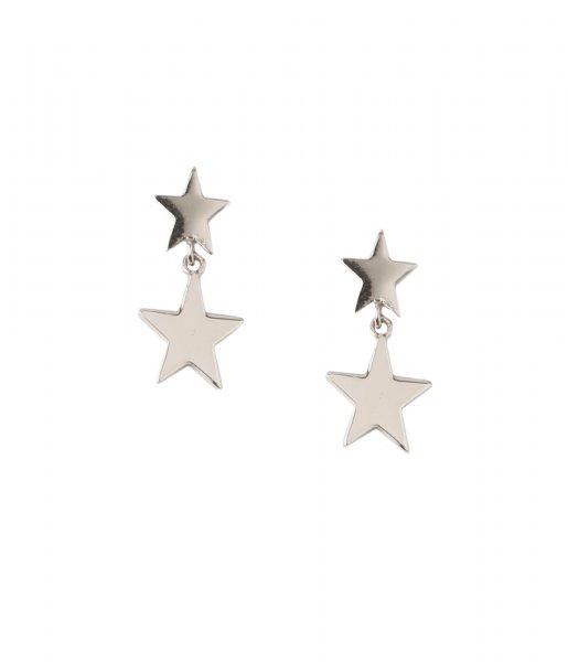 Orelia  Double Star Drop Stud Earrings silver plated (ORE25049)