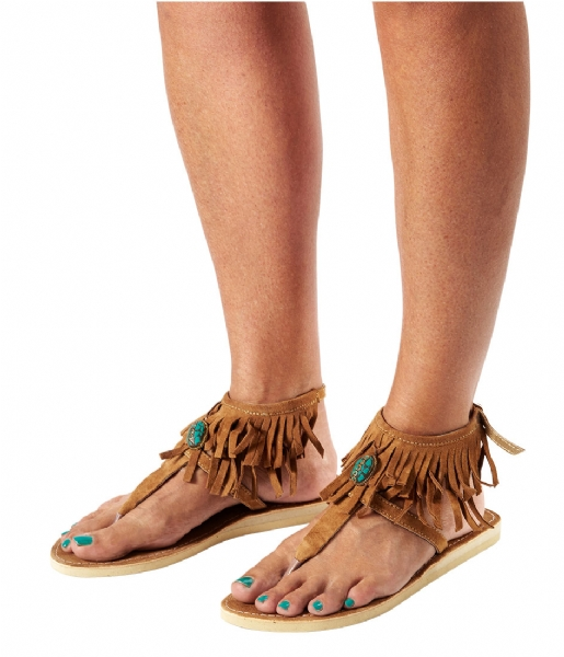 Pretty Hot And Tempting  Flipflops Suede Fringes tan suede fringes (18208)