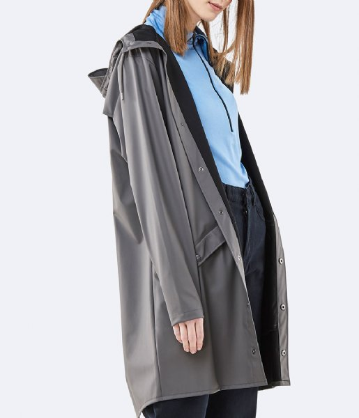 Rains  Long Jacket charcoal (18)