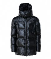 Rains Puffer Hooded Coat 76 Shiny Black