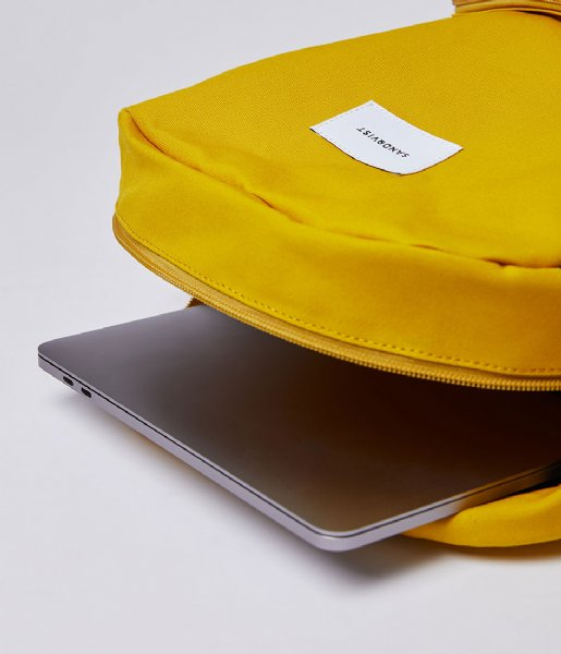 Sandqvist  Backpack Kim 15 Inch yellow with natural leather (1248)