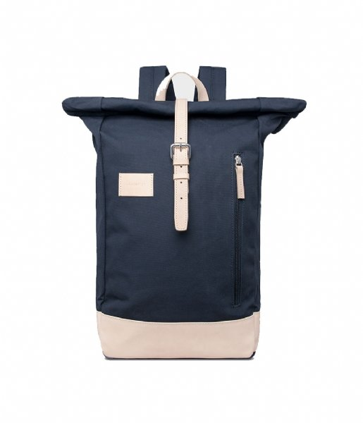 Sandqvist  Dante Grand Laptop Backpack navy with natural leather (1082)
