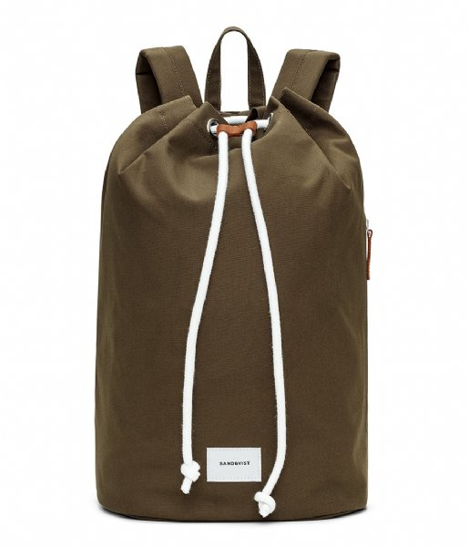 Sandqvist  Evert 15 Inch olive with cognac brown leather (903)