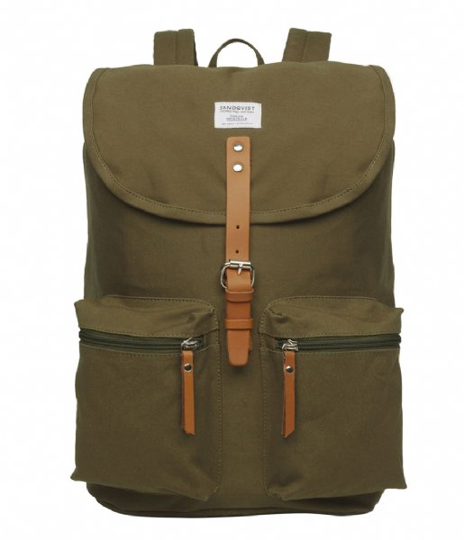 Sandqvist  Roald 15 Inch olive with cognac brown leather (534)