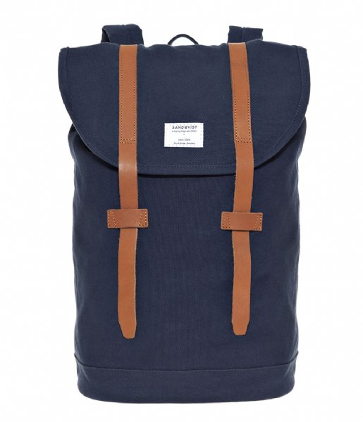 Sandqvist  Backpack Stig 13 Inch blue with cognac brown leather (969)