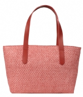 Fred de la Bretoniere Summer Bag Medium Natural Woven natural woven red