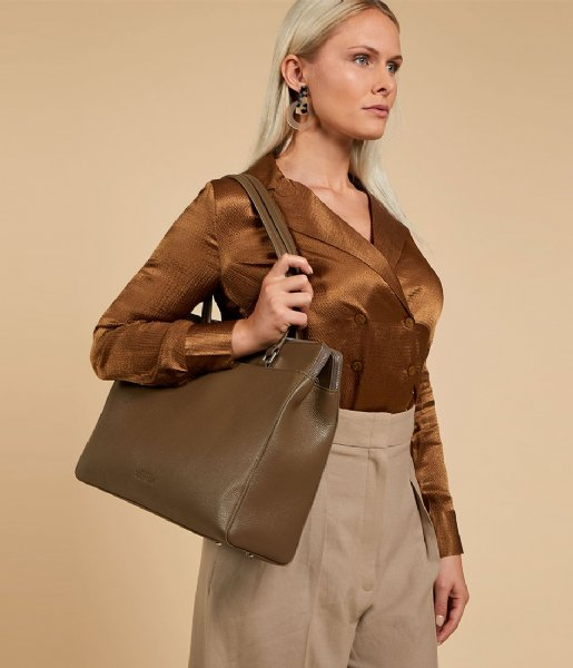 The Little Green Bag  Lorelei Laptop Tote 15.6 Inch olive