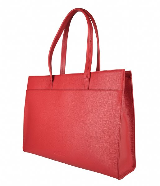 The Little Green Bag  Cassia Laptop Tote 15.6 Inch red
