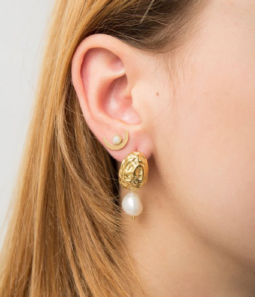 The Little Green Bag  Nugget Freshwater Studs X My Jewellery gold colored