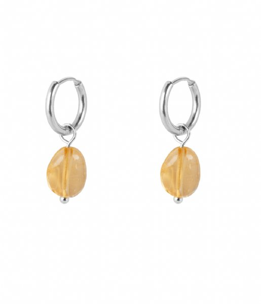 The Little Green Bag  Citrine Stone Small Hoops X My Jewellery silver colored