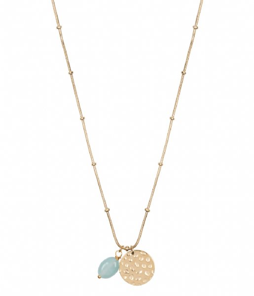 The Little Green Bag  Coin With Amazonite Gem Necklace X My Jewellery gold colored