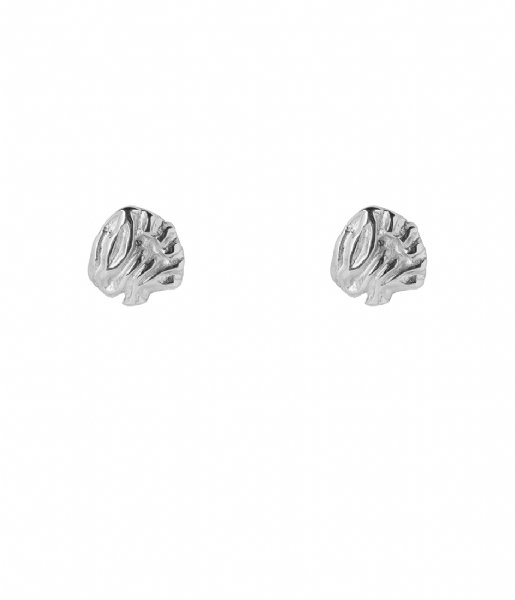 The Little Green Bag  Leaf Studs X My Jewellery silver colored