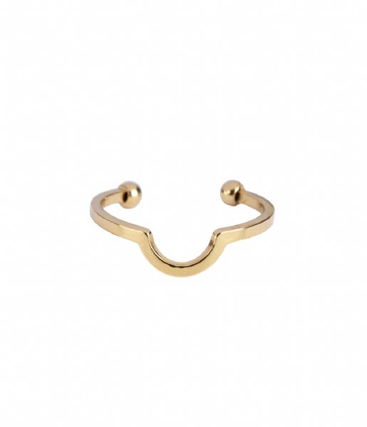 The Little Green Bag  Open Moon Ring X My Jewellery gold colored