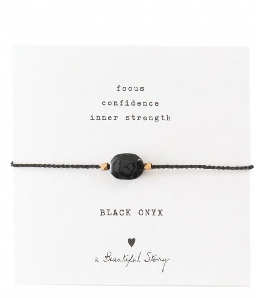 A Beautiful Story  Gemstone Card Black Onyx Gold Plated Bracelet gold plated (BL22474)