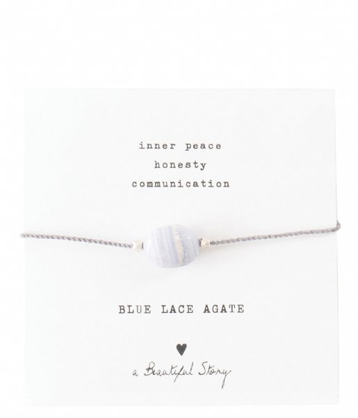 A Beautiful Story  Gemstone Card Blue Lace Agate Silver Plated Bracelet silver plated (BL22574)