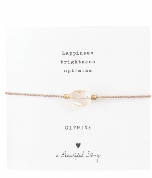 A Beautiful Story  Gemstone Card Citrine Gold Plated Bracelet gold plated (BL23074)