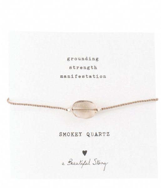 A Beautiful Story  Gemstone Card Smokey Quartz Silver Plated Bracelet silver plated (BL23174)