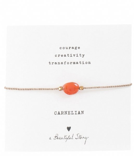 A Beautiful Story  Gemstone Card Carnelian Gold Plated Bracelet gold plated (BL23474)