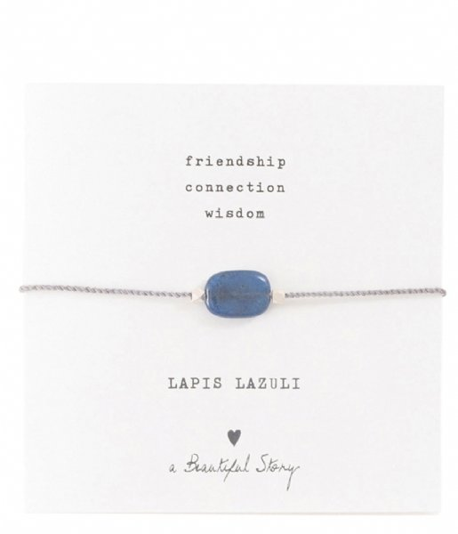 A Beautiful Story  Gemstone Card Lapis Lazuli Silver Plated Bracelet silver plated (BL23574)