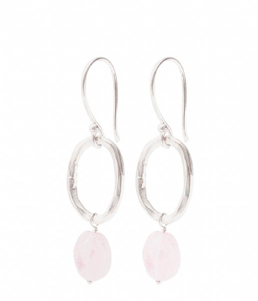 A Beautiful Story  Graceful Rose Quartz Silver Plated Earrings silver plated (AW24134)