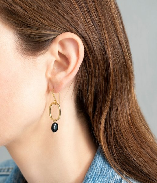 A Beautiful Story  Graceful Black Onyx Gold Plated Earrings gold plated (AW24334)