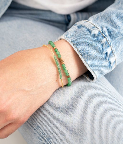 A Beautiful Story  Majestic Aventurine Gold Plated Bracelet gold plated (BL25332)