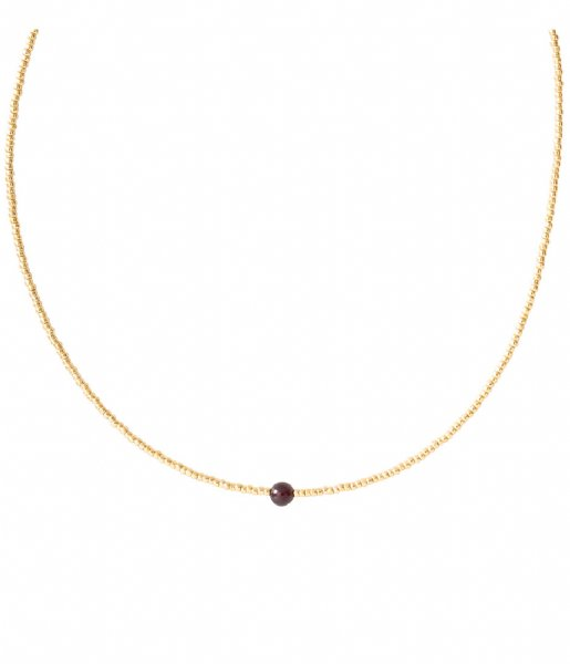 A Beautiful Story  Flora Garnet Gold Necklace gold colored