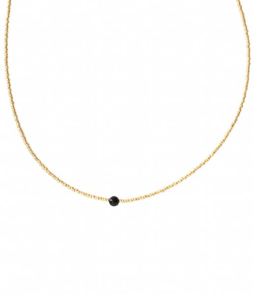 A Beautiful Story  Flora Black Onyx Gold Necklace gold colored