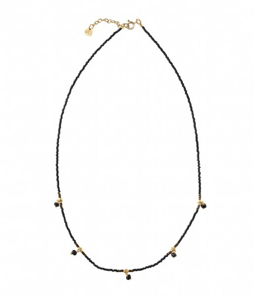 A Beautiful Story  Cocoon Black Onyx Gold Necklace gold colored