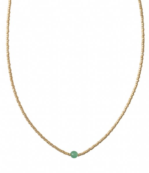 A Beautiful Story  Flora Aventurine Gold Necklace gold colored