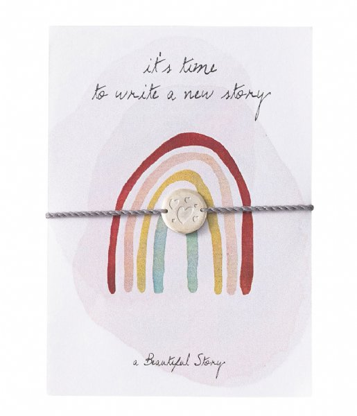 A Beautiful Story  Jewelry Postcard Rainbow Silver colored