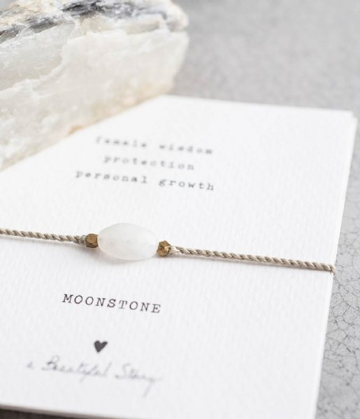 A Beautiful Story  Gemstone Card Moonstone Gold Plated Bracelet gold plated (BL22374)
