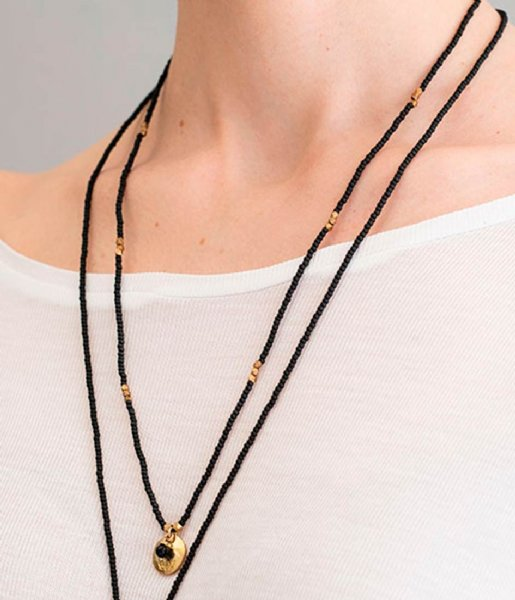 A Beautiful Story  Fall Black Onyx Buddha Gold Plated Necklace gold plated (BL22859)