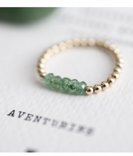 A Beautiful Story  Beauty Aventurine Gold Plated Ring S/M gold plated (BL23275)