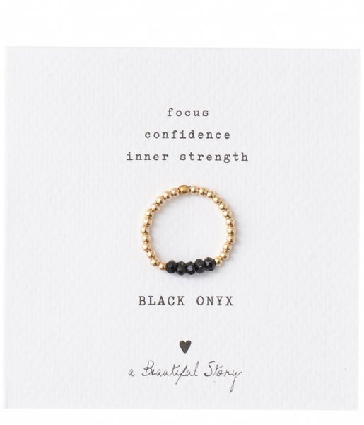 A Beautiful Story  Beauty Black Onyx Gold Ring S/M black gold (BL22475)