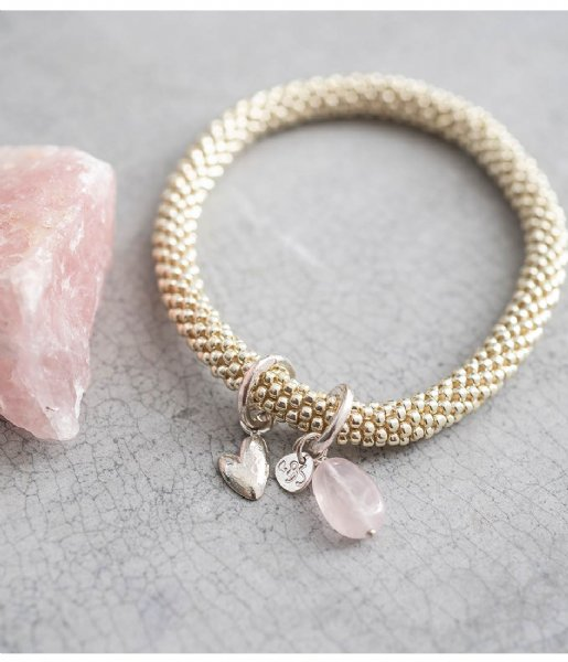 A Beautiful Story  Jacky Rose Quartz Heart Silver Plated Bracelet silver plated (BL22256)