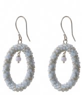 A Beautiful Story Faith Blue Lace Agate Silver Plated Earring silver plated (BL22579)
