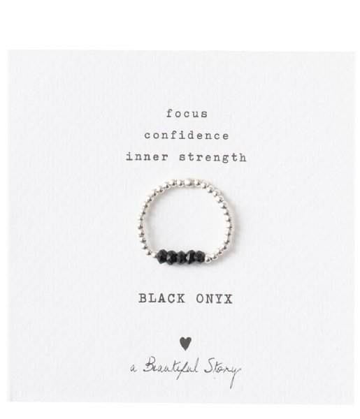 A Beautiful Story  Beauty Black Onyx Silver Plated Ring S/M silver plated (BL22875)