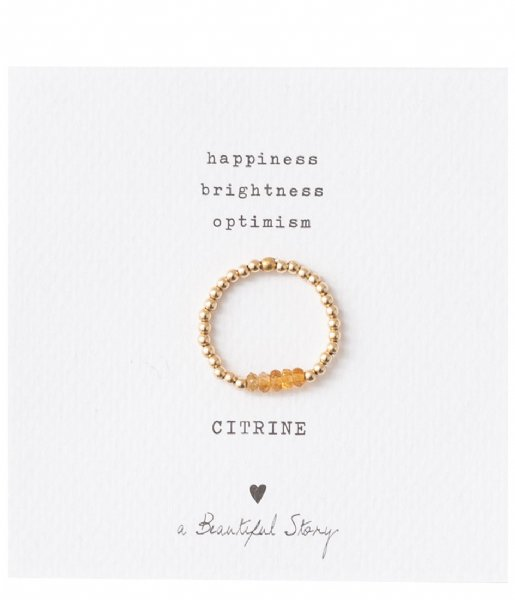 A Beautiful Story  Beauty Citrine Gold Plated Ring S/M gold plated (BL23075)