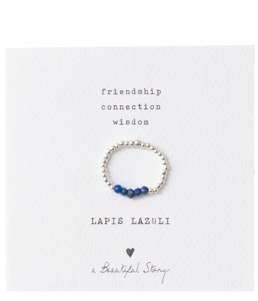 A Beautiful Story  Beauty Lapis Lazuli Silver Ring S/M zilver (BL23575)