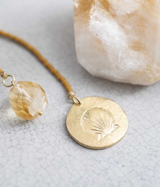 A Beautiful Story  Fairy Citrine Shell Gold Necklace goud (BL23058)