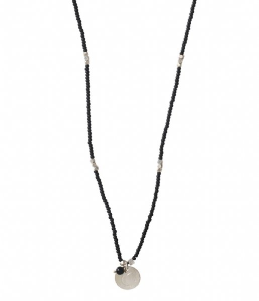 A Beautiful Story  Truly Black Onyx Moon Silver Necklace zilver (BL24970)